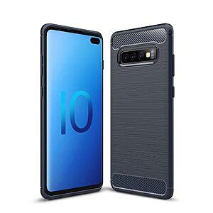 Θήκη Samsung Galaxy S10 Plus OEM Brushed TPU Carbon Πλάτη μπλε