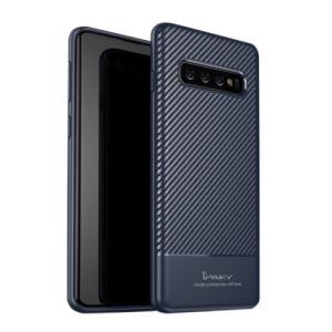 Θήκη Samsung Galaxy S10 IPAKY Carbon Fiber Πλάτη TPU μπλε