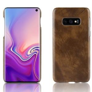 Θήκη Samsung Galaxy S10e OEM Litchi Skin Leather Plastic Series Πλάτη δερματίνη καφέ
