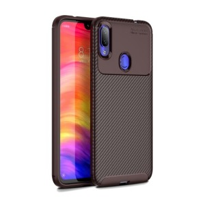 Θήκη Xiaomi Redmi Note 7 OEM Airbag Carbon Series Πλάτη TPU καφέ