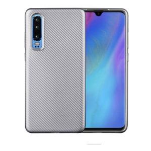 Θήκη Huawei P30 OEM Carbon Fiber Texture Πλάτη TPU ασημί