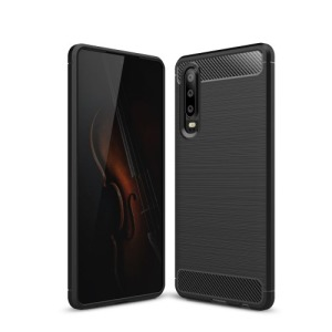 Θήκη Huawei P30 OEM Brushed TPU Carbon Πλάτη μαύρο