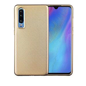 Θήκη Huawei P30 OEM Carbon Fiber Texture Πλάτη TPU χρυσό