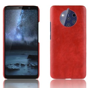 Θήκη Nokia 9 PureView OEM Litchi Skin Leather Plastic Series Πλάτη από σκληρό πλαστικό με επένδυση δερματίνης κόκκινο