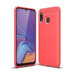 Θήκη Samsung Galaxy A40 OEM Brushed TPU Carbon Πλάτη κόκκινο ανοιχτό