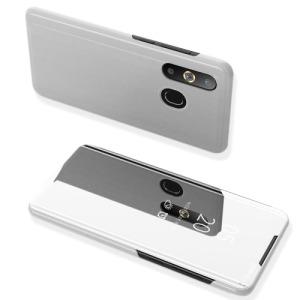 Θήκη Samsung Galaxy A50 OEM Mirror Surface View Stand Case Cover Flip Window από δερματίνη & πλαστικό ασημί