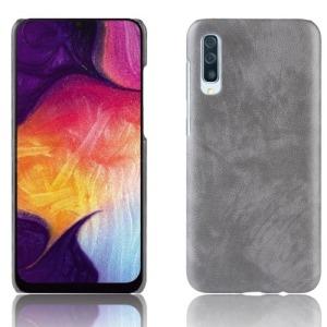 Θήκη Samsung Galaxy A50 OEM Litchi Skin Leather Plastic Series Πλάτη από σκληρό πλαστικό με επένδυση δερματίνης γκρι