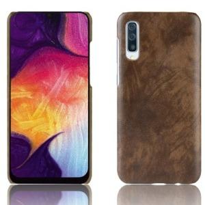 Θήκη Samsung Galaxy A50 OEM Litchi Skin Leather Plastic Series Πλάτη από σκληρό πλαστικό με επένδυση δερματίνης καφέ