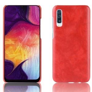 Θήκη Samsung Galaxy A50 OEM Litchi Skin Leather Plastic Series Πλάτη από σκληρό πλαστικό με επένδυση δερματίνης κόκκινο