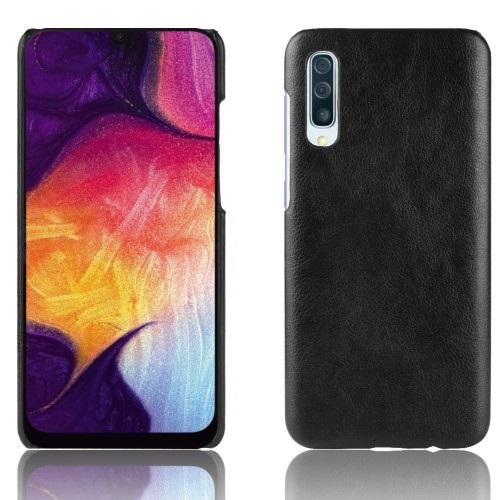 Θήκη Samsung Galaxy A50 OEM Litchi Skin Leather Plastic Series Πλάτη από σκληρό πλαστικό με επένδυση δερματίνης μαύρο