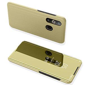 Θήκη Samsung Galaxy A50 OEM Mirror Surface View Stand Case Cover Flip Window από δερματίνη & πλαστικό χρυσό