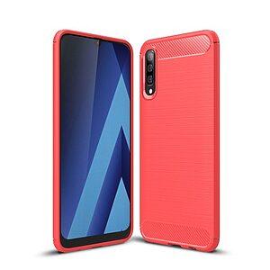 Θήκη Samsung Galaxy A50 OEM Brushed TPU Carbon Πλάτη κόκκινο ανοιχτό