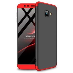 Θήκη Samsung Galaxy J4 Plus GKK Full body Protection 360° από σκληρό πλαστικό μαύρο / κόκκινο