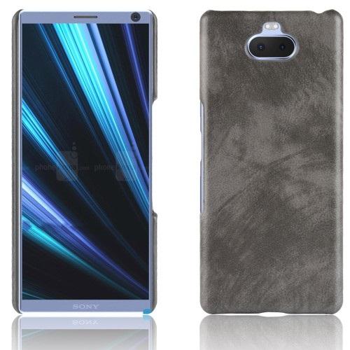 Θήκη Sony Xperia 10 OEM Litchi Skin Leather Plastic Series Πλάτη από σκληρό πλαστικό με επένδυση δερματίνης γκρι