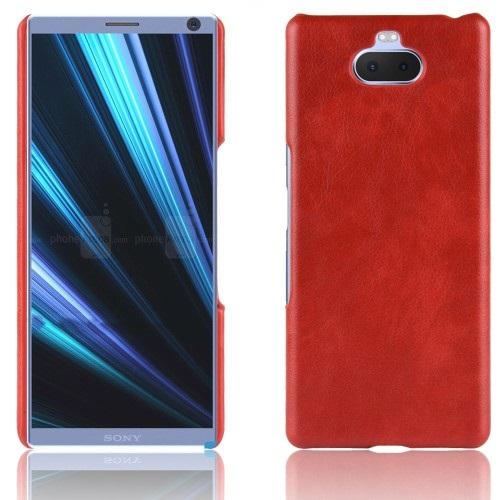 Θήκη Sony Xperia 10 OEM Litchi Skin Leather Plastic Series Πλάτη από σκληρό πλαστικό με επένδυση δερματίνης κόκκινο