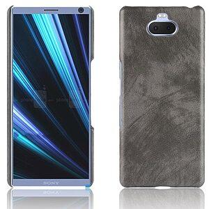 Θήκη Sony Xperia 10 Plus OEM Litchi Skin Leather Plastic Series Πλάτη από σκληρό πλαστικό με επένδυση δερματίνης γκρι