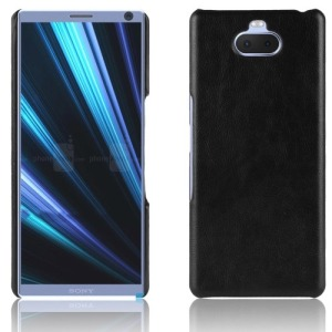 Θήκη Sony Xperia 10 Plus OEM Litchi Skin Leather Plastic Series Πλάτη από σκληρό πλαστικό με επένδυση δερματίνης μαύρο