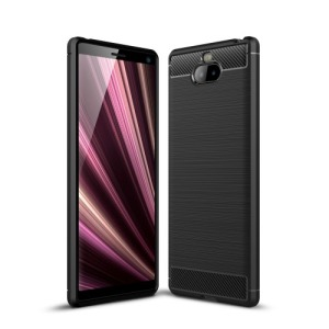 Θήκη Sony Xperia 10 Plus OEM Brushed TPU Carbon Πλάτη μαύρο