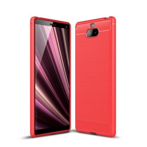 Θήκη Sony Xperia 10 OEM Brushed TPU Carbon Πλάτη κόκκινο ανοιχτό