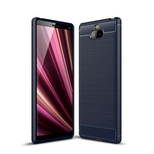 Θήκη Sony Xperia 10 OEM Brushed TPU Carbon Πλάτη μπλε σκούρο