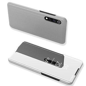 Θήκη Xiaomi Mi 9 OEM Mirror Surface View Stand Case Cover Flip Window από δερματίνη & πλαστικό ασημί