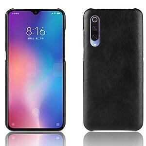Θήκη Xiaomi Mi 9 OEM Litchi Skin Leather Plastic Series Πλάτη από σκληρό πλαστικό με επένδυση δερματίνης μαύρο