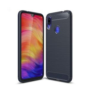 Θήκη XIAOMI Redmi Note 7 OEM Brushed TPU Carbon Πλάτη μπλε σκούρο