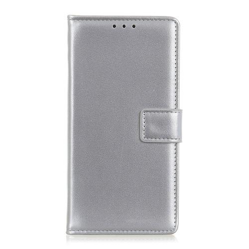 υποδοχές καρτών και μαγνητικό κούμπωμα Flip Wallet δερματίνη ασημί