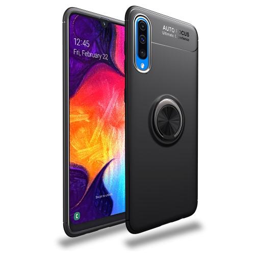 Θήκη Samsung Galaxy A70 LENUO Magnetic Ring Kickstand / Μαγνητικό δαχτυλίδι / Βάση στήριξης πλάτη TPU μαύρο