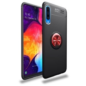 Θήκη Samsung Galaxy A70 LENUO Magnetic Ring Kickstand / Μαγνητικό δαχτυλίδι / Βάση στήριξης πλάτη TPU μαύρο / κόκκινο