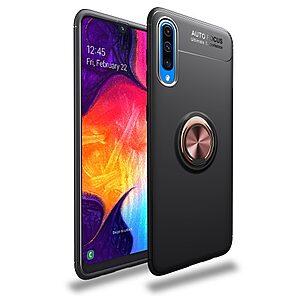 Θήκη Samsung Galaxy A70 LENUO Magnetic Ring Kickstand / Μαγνητικό δαχτυλίδι / Βάση στήριξης πλάτη TPU μαύρο / ροζ χρυσό