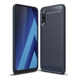 Θήκη Samsung Galaxy A70 OEM Brushed TPU Carbon πλάτη σκούρο μπλε