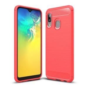 Θήκη Samsung Galaxy A20e OEM Brushed TPU Carbon Πλάτη TPU κόκκινο