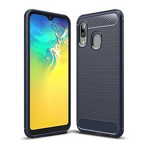 Θήκη Samsung Galaxy A20e OEM Brushed TPU Carbon Πλάτη TPU μπλε