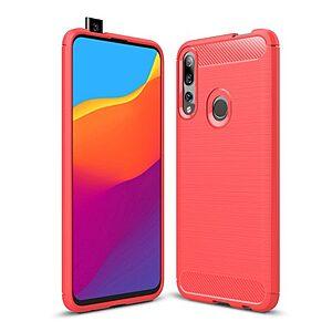 Θήκη Huawei P Smart Z OEM Brushed TPU Carbon Πλάτη κόκκινο ανοιχτό