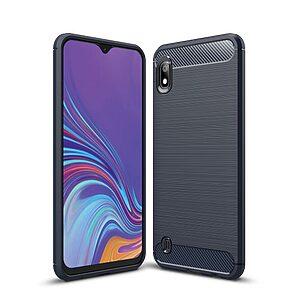 Θήκη Samsung Galaxy A10 OEM Brushed TPU Carbon Πλάτη μπλε σκούρο