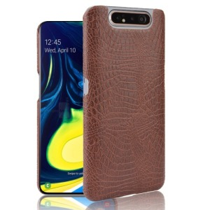 Θήκη Samsung Galaxy A80 OEM Crocodile Texture PU Leather Coated - Πλάτη δερματίνη καφέ