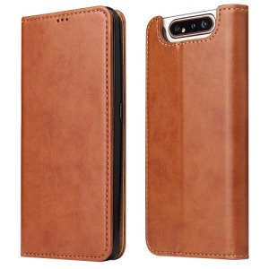 Θήκη Samsung Galaxy A80 OEM Leather Wallet Stand Flip Cell Shell Flip Wallet δερματίνη καφέ
