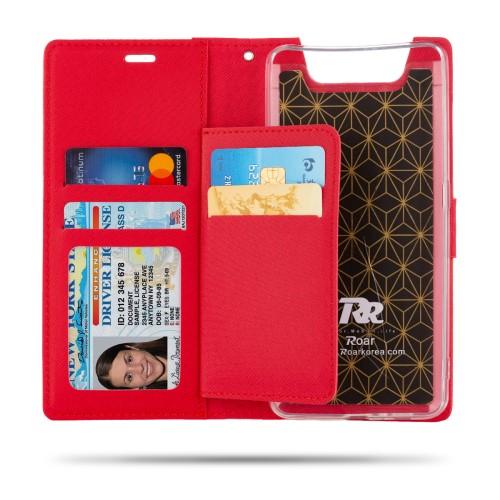υποδοχές καρτών και μαγνητικό κούμπωμα - Flip Wallet δερματίνη κόκκινο