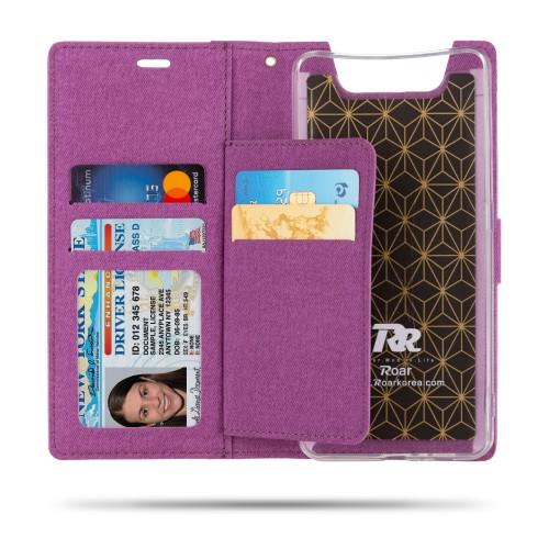 υποδοχές καρτών και μαγνητικό κούμπωμα - Flip Wallet δερματίνη μωβ