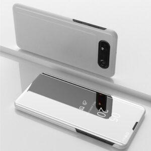 Θήκη Samsung Galaxy A80 OEM Mirror Surface View Stand Case Cover Flip Window πλαστική ασημί