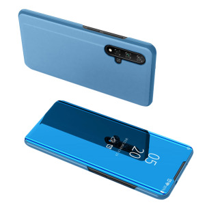 Θήκη Honor 20 OEM Mirror Surface View Stand Case Cover Flip Window δερματίνη μπλε