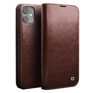 Θήκη iPhone 11 QIALINO Genuine Cowhide Leather Flip Wallet δερμάτινη καφέ