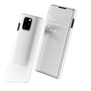 Θήκη iPhone 11 OEM Mirror Surface View v2 Stand Case Cover Flip Window δερματίνη λευκό