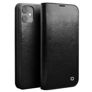 Θήκη iPhone 11 QIALINO Genuine Cowhide Leather Flip Wallet δερμάτινη μαύρο