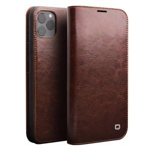 Θήκη iPhone 11 Pro QIALINO Genuine Cowhide Leather Flip Wallet δερμάτινη καφέ