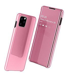 Θήκη iPhone 11 Pro OEM Mirror Surface View v2 Stand Case Cover Flip Window δερματίνη ροζ