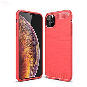 Θήκη iPhone 11 Pro Max OEM Brushed TPU Carbon Πλάτη κόκκινο ανοιχτό