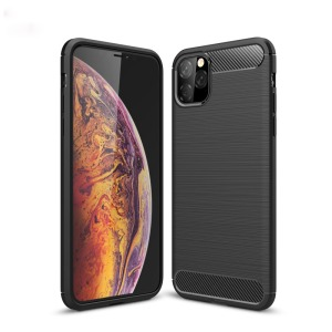 Θήκη iPhone 11 Pro Max OEM Brushed TPU Carbon Πλάτη μαύρο