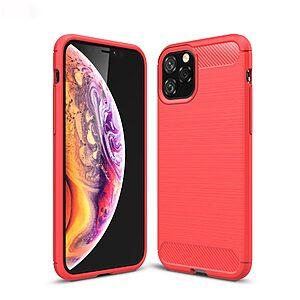 Θήκη iPhone 11 Pro OEM Brushed TPU Carbon Πλάτη κόκκινο ανοιχτό